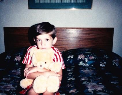 With teddy bear