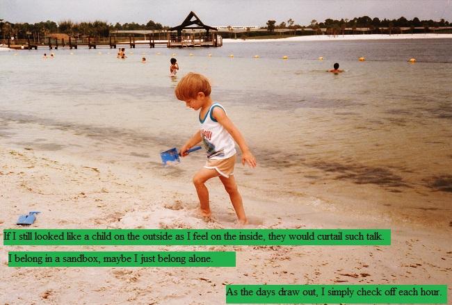 Child walking up a beach