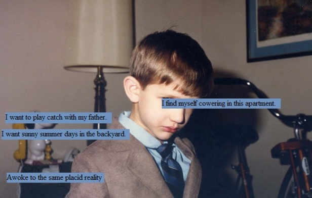Sad child wearing a suit and tie