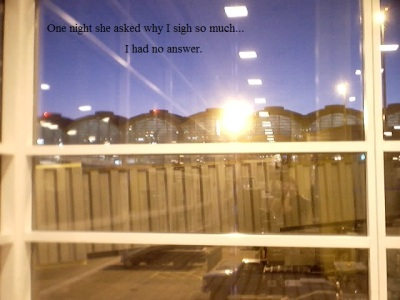 Reflections in an airport window