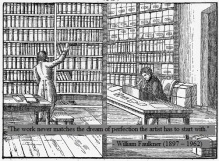 Drawing of a library from 1842