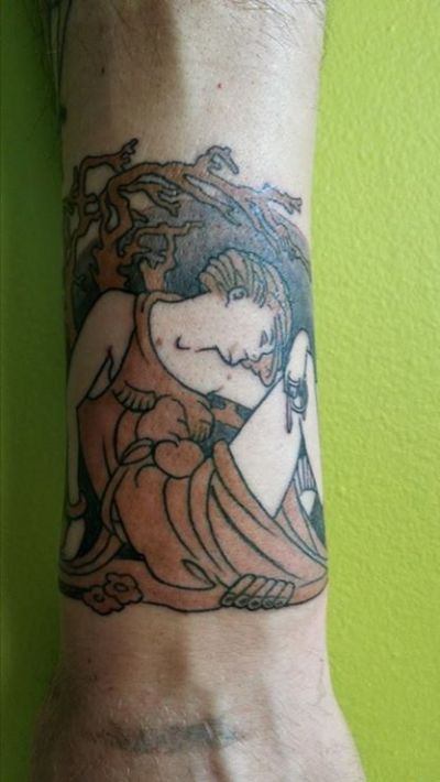 Tattoo of the original cover art from Ernest Hemingway's The Sun Also Rises