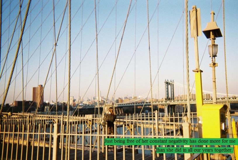 Sun setting on the brooklyn bridge