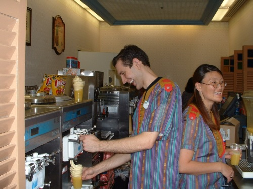 Yours truly, making a Dole Whip Pineapple Float at the Aloha Isle in Adventureland circa 2003