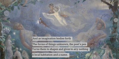 Shakespeare quote over painting of scene from A Midsummer Night's Dream