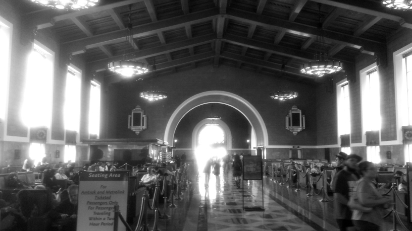 Black and white train station