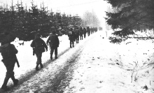 Troops marching through the snow