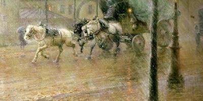 Nils Kreuger painting - In the rain, Paris