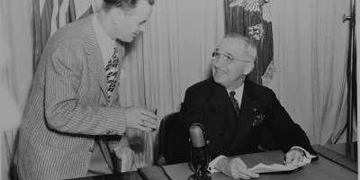 President Truman announces end of war
