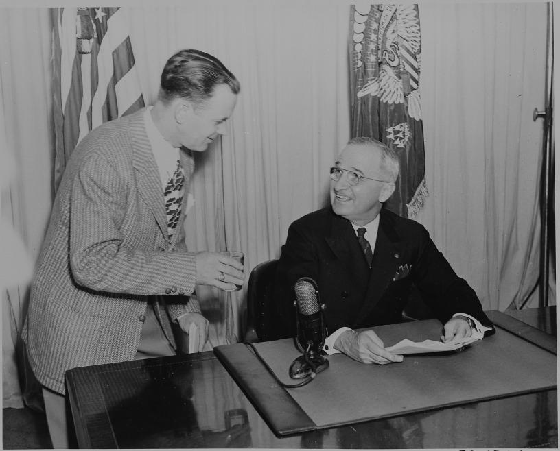 President Truman announces end of war