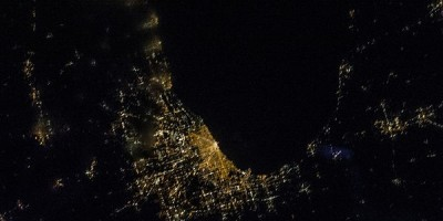 Chicago and Lake Michigan from space
