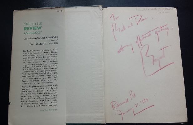 Margaret Anderson autograph in the Little Review Anthology