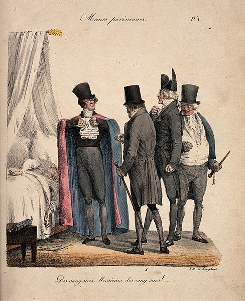 A_group_of_fashionable_physicians_gathered_around_a_sick_patient