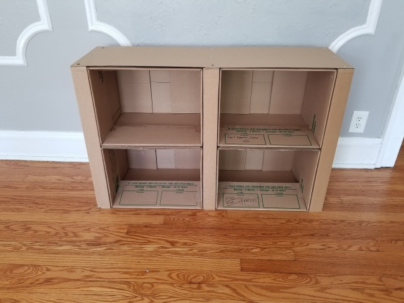 Cardboard box bookshelves